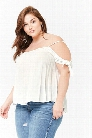 Plus Size Gauzy Open-Shoulder Crop Top
