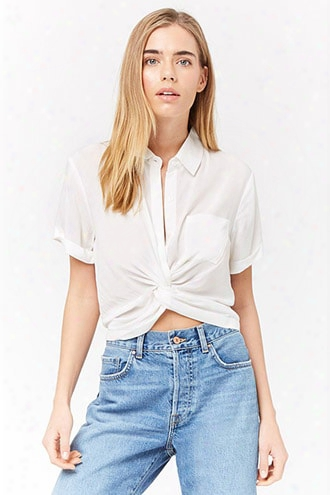 Twist-front Buttoned Top