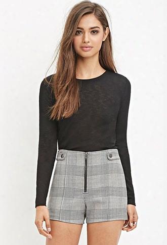 Zippered  Glen Plaid Shorts