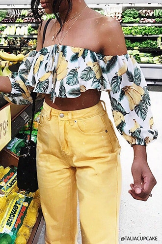 Banana Print Crop Top