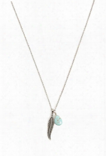 Burnished Faux Stone & Feather Charm Necklace