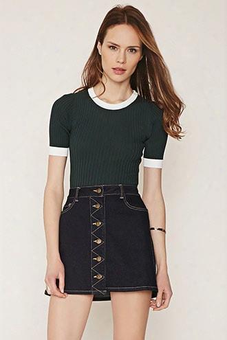 Contemporary Contrast-trim Ribbed Sweater