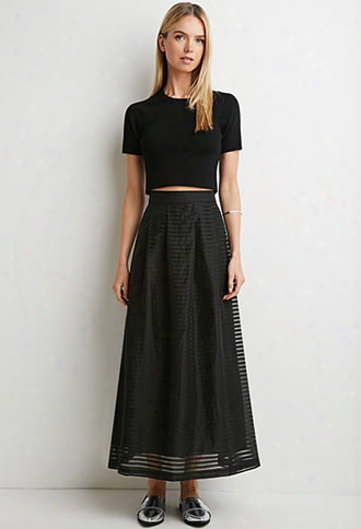 Contemporary Pleated Shadow Stripe Maxi Skirt