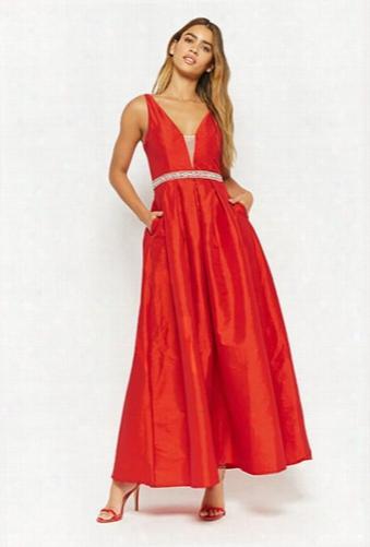 Faux Gem-embellished Taffeta Gown