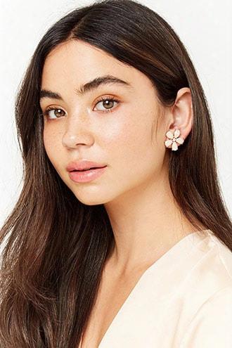 Faux Gem Floral Std Earrings