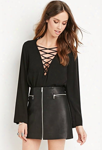Faux Leather Zipped Skirt