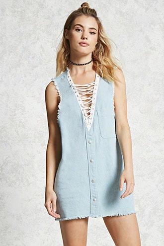 Frayed Lace-up Denim Dress