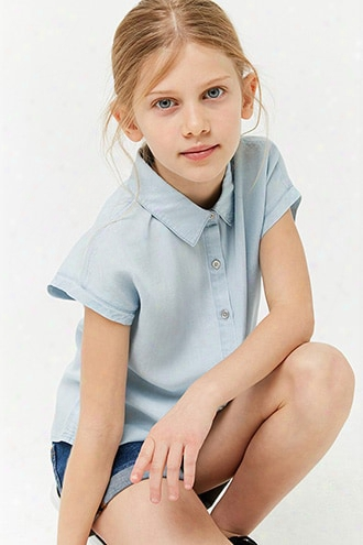 Girls Chambray Button-front Shirt (kids)