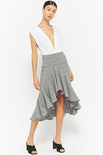 Glen Plaid High-low Skirt