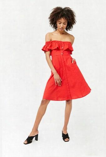 Linen-blend Flounce Dress