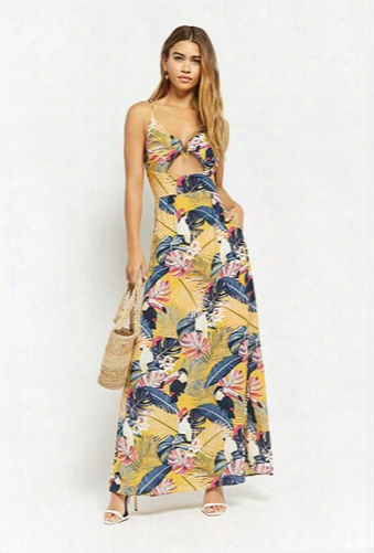 Nature Print Cutout Maxi Dress