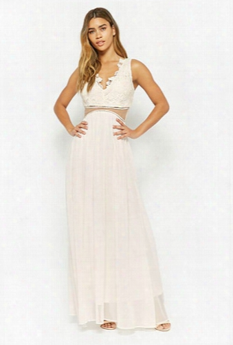 Plunging Crochet Lace Gown