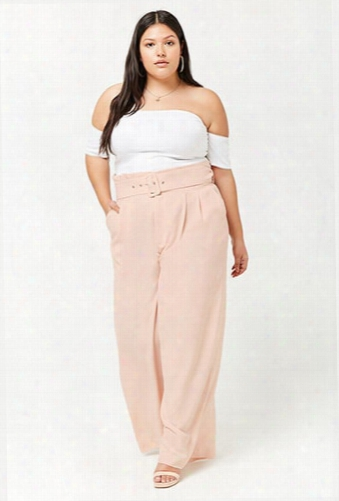 Plus Size Belted High-rise Palazzo Pants