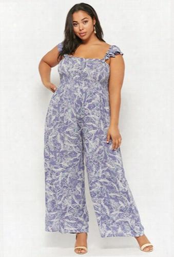 Plus Size Boho Me Feather Print Jumpsuit