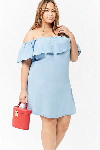 Plus Size Chambray Off-the-shoulder Dress