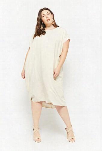 Plus Size Linen-blend High-low Dress