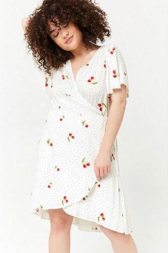 Plus Size Polka Dot & Cherry Print Wrap Dress