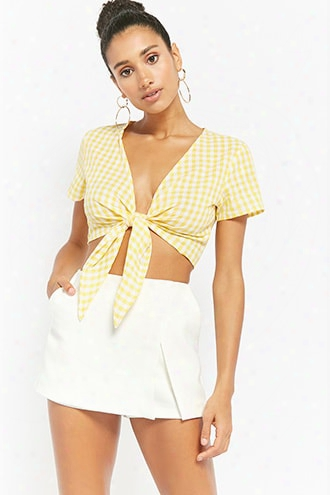 Reverse Gingham Tie-front Crop Top