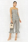 Striped Ruffle-Hem Jumpsuit
