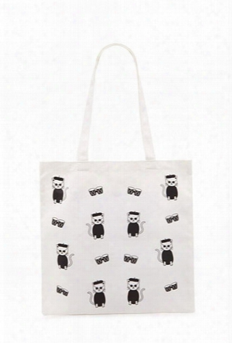 Beret Cat Print Tote Bag