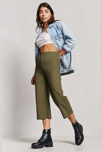 Cropped Wide-leg Chino Pants