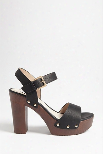 Faux Leather Platform Clog Sandals