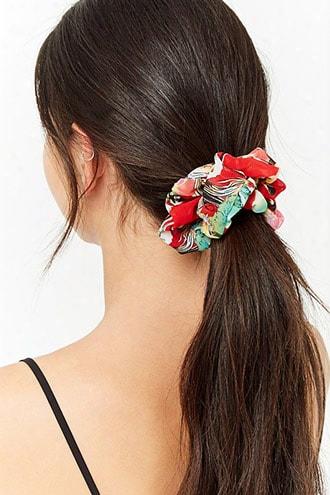 Floral Chiffon Scrunchie