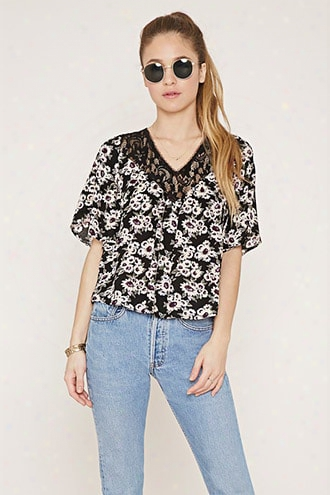 Lace-paneled Floral Top
