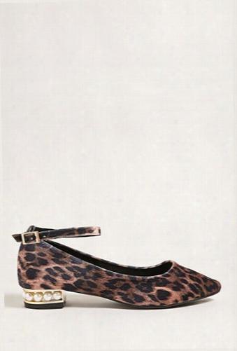 Leopard Print Faux Pearl Heels