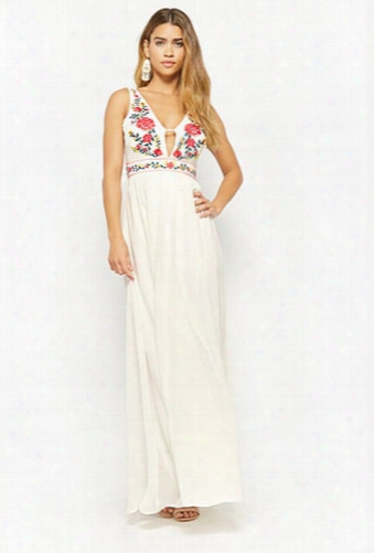Plunging Embroidered Floral Gown
