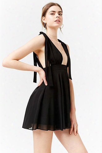 Plunging Self-tie Chiffon Dress
