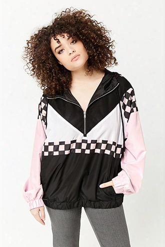 Plus Size Checkered Mesh-insert Anorak