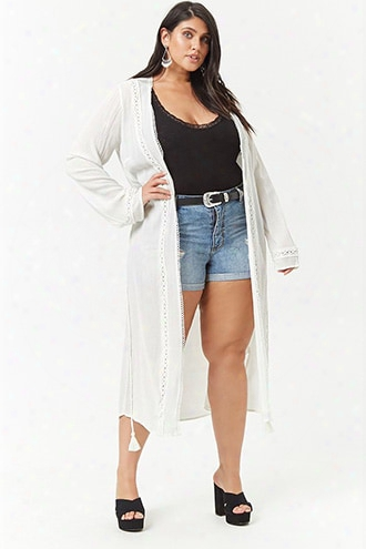 Plus Size Scalloped Open-front Longline Cardigan