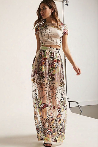 Sheer Mesh Floral Embroidered Crop Top & Maxi Skirt Set