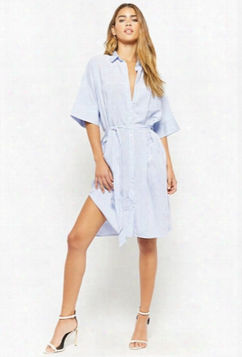 Striped Button-front Mini Shirt Dress