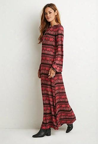 Striped Floral Maxi Dress