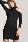 One-Shoulder Mock Neck Bodycon Dress