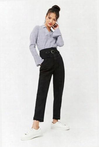 Belted High-waist Jeans