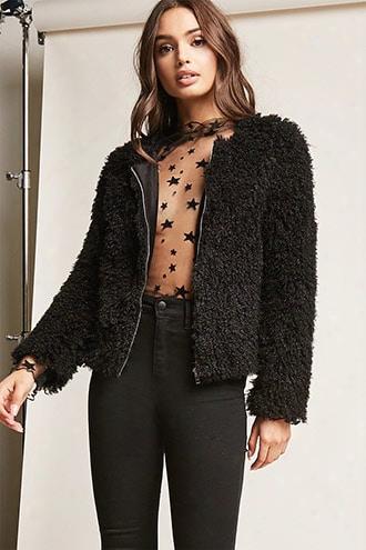 Boucle Knit Zip-front Jacket
