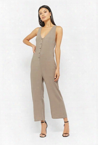 Button-front Racerback Jumpsuit