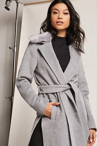 Faux Fur Trimmed Wrap Coat