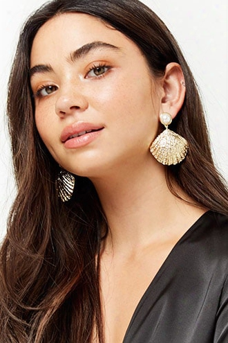 Faux Pearl Shell Drop Earrings