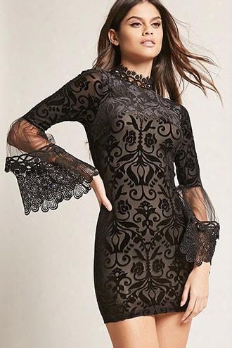Mesh Velvet Burnout Dress