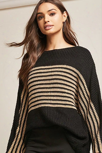 Metallic Striped Sweater-knit Top