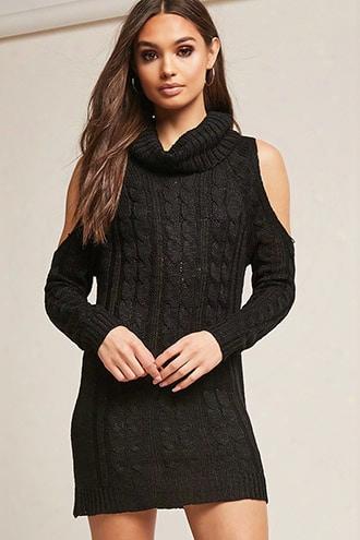 Open-shoulder Sweater-knit Dress