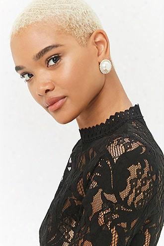 Oversized Faux Pearl Stud Earrings