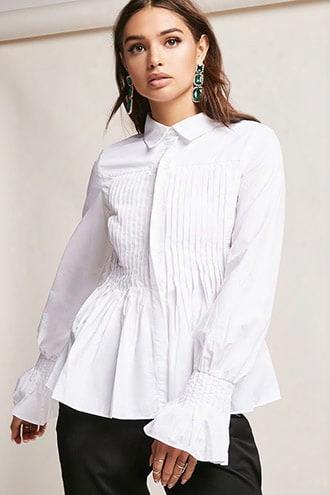 Pintuck Bell-sleeve Shirt