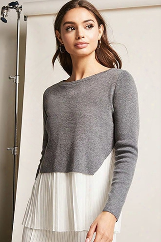 Pleated-hem Combo Sweater