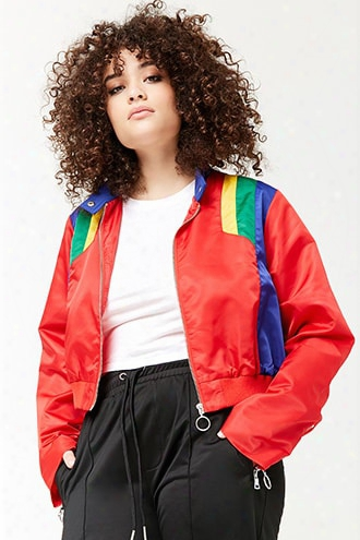 Plus Size Colorblock Zip-front Jacket