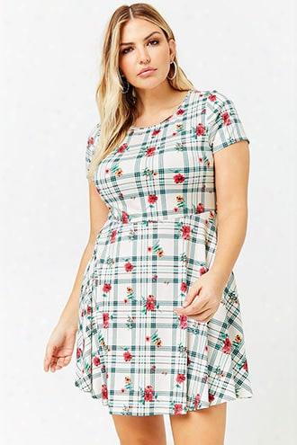 Plus Size Floral & Grid Print Dress